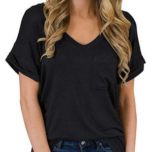 V-neck pocket short sleeve top